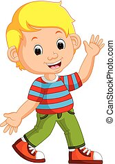 cute, menino, caricatura, posar