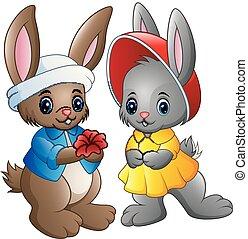 cute, menino, coelho, menina, flores, caricatura, dá