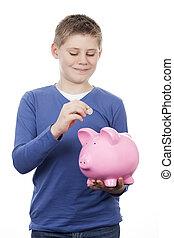 cute, menino, dinheiro saving
