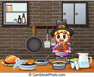 cute, menino, jantar, segurando, assado, tabela