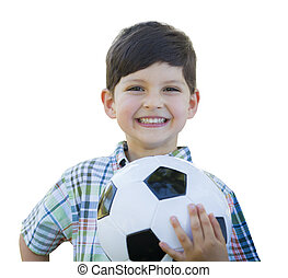 cute, menino jovem, bola futebol segurando, isolado, branco