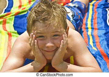 cute, menino, ligado, toalha praia
