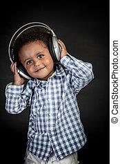 cute, menino, música, escuta