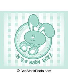 cute, menino, -, ou, bebê, coelhinho, version., macho, caricatura