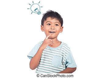 cute, menino, pensando, asiático, sorrindo