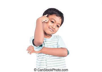 cute, menino, pensando, asiático, sorrizo