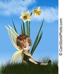 cute, menino, toon, primavera, narciso, ensolarado, fada, dia