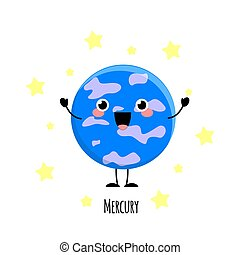 Kawaii Mercury planet with the happy fase. Planet characters vector illustration isolated on white background.