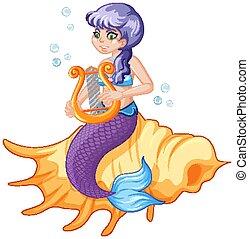 Cute mermaid cartoon character