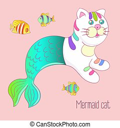 Cute mermaid cat purrmaid with green tail