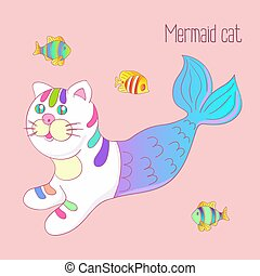 Cute mermaid cat purrmaid with purple tail