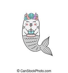 Cute mermaid cat vector illustration