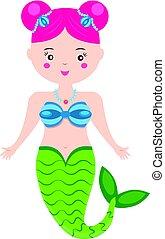 Cute Mermaid character in Cartoon Style. vector illustration