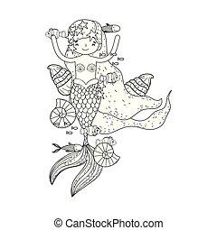 cute mermaid fairy tales vector illustration design