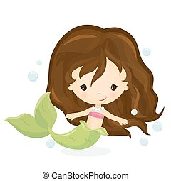 Cute mermaid girl
