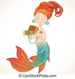 Cute mermaid holding a chest with pearls
