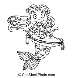 Cute mermaid holding a crown on the pillow outlined