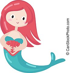 Cute mermaid holds seashell. Icon isolated on white background. Vector illustration