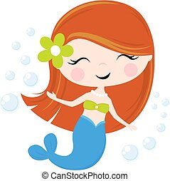 cute, mermaid pequeno