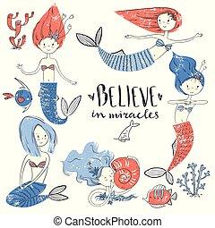 cute, mermaid pequeno, set., acreditar, em, miracle., textured, vetorial, doente