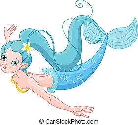 Cute Mermaid swimming - Cute Young Mermaid swimming