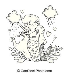cute mermaid under sea with seaweed vector illustration design