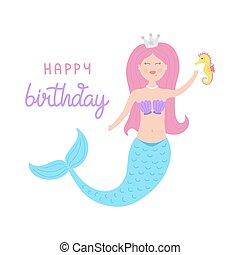 Cute mermaid vector birthday greeting card