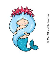 Cute mermaid with long blue hair and wreath of red starfish.