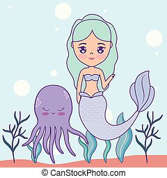 cute mermaid with octopus in the sea