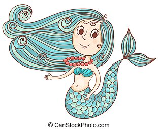 Cute mermaid with red beads isolated on white. Vector cartoon illustration.
