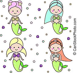 Cute mermaids characters. vector illustration