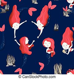 Cute mermaids seamless pattern. Good for fabric, apparel, home decor