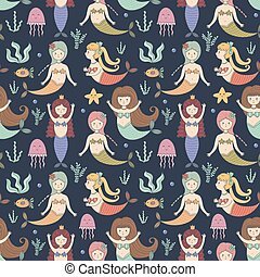 Cute mermaids seamless pattern