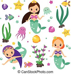 Cute mermaids set and design elements. Stickers, clip art for girls in kawaii style. Alga, octopus, fish and other fairy symbols