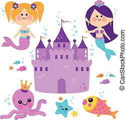 Cute mermaids swimming underwater and a castle. Vector illustration collection