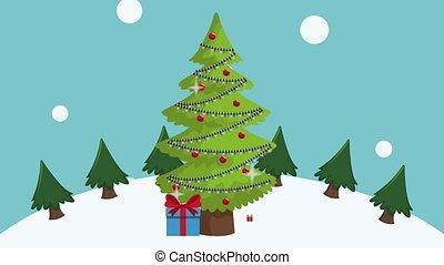 Cute merry christmas card HD animation