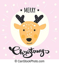 Cute Merry Christmas winter card with deer