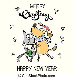Cute Merry Christmas winter card,dog hugs and congratulates cat