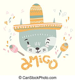 Cute mexican baby cat. Hand drawn vector illustration. For kid's