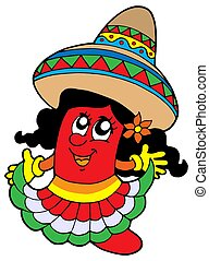 Cute Mexican chilli girl - isolated illustration.