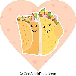 Cute mexican food smiling taco and burrito characters embracing each other