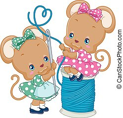 Cute Mice Needle Thread - Illustration of a Pair of Cute...