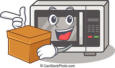 Cute microwave cartoon character having a box