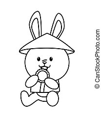 cute mid autumn rabbit with chinese hat eating cookie line style character