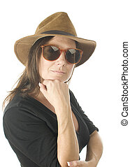 cute middle age woman head shot studio portrait