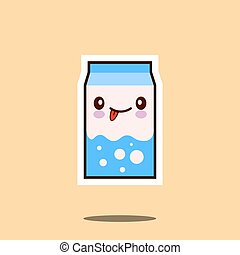 Cute milk box icon kawaii container with smiley face