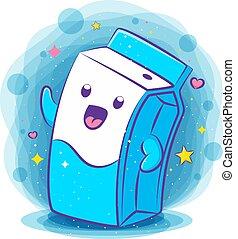 Cute milk box kawaii character