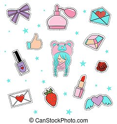 cute, moda, elements., lábios, remendo, outro, corações, menina, emblemas