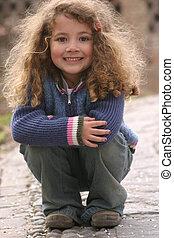 cute model - little girl posing for the camera