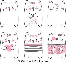 cute, moderne, sæt, katte